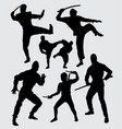 ninja martial art silhouette vector image