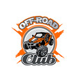 off-road utv club logo with orange buggy in center vector image vector image