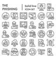 phishing line icon set cyber crime symbols vector image