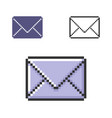 pixel icon closed envelope in three variants vector image vector image