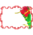 Red tulips with yellow and red ribbons are on vector image vector image