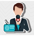 reporter avatar with radio isolated icon design vector image