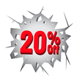 Sale 20 percent on Hole cracked white wall vector image vector image