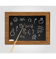 school black board with pointer and chalk vector image vector image