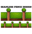 Seamless fence design with green bushes vector image vector image