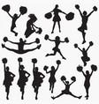 silhouettes cheerleader 1 vector image vector image