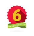 Six anniversary badge with shadow on red starburst vector image vector image