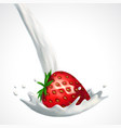 strawberry and milk splash vector image vector image