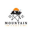table mountain logo design vector image vector image