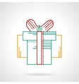Thin flat color line gift box icon vector image