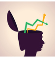 thinking concept-Human head with up down arrows vector image vector image