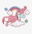 unicorn rainbow sky clouds flowers fantasy magic vector image