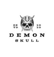 vintage hand drawn demon skull logo design vector image vector image