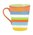 watercolor hand drawn coffee or tea mug isolated vector image vector image
