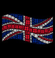 waving british flag pattern of four-leafed clover vector image vector image