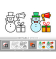 xmas sale gift snowman with megaphone vector image vector image