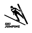 Jumping skier silhouette vector image