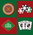 set of poker casino gambling bets money vector image