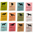 2020 vintage calendar with horses silhouettes vector image vector image