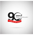 90 years anniversary logo with ribbon and hand vector image vector image