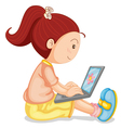 a girl with laptop vector image