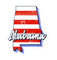 american flag in alabama state map grunge style vector image vector image