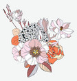 arrangement with spring flowers in colors floral vector image