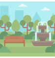 Background of city park with fountain vector image vector image
