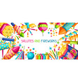 banner with colorful fireworks different types vector image vector image