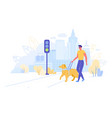 blind or visually impaired man with guide dog vector image vector image