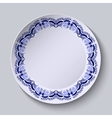 Blue floral pattern on the rim of the plate vector image vector image