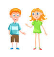 boy and girl with backpacks vector image