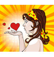 brunette in profile sending air hearts comic book vector image vector image