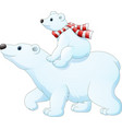 cartoon baby polar bear riding on her mothers bac vector image vector image