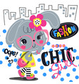 cartoon beautiful rabbit girl with chic outfit vector image vector image
