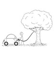 cartoon of man refueling car from a tree vector image vector image