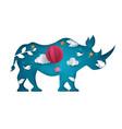 cartoon paper landscape rhino vector image