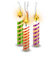christmas candle set flame realistic vector image