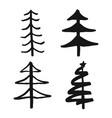 christmas tree hand drawn set pine trees vector image vector image