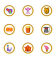 circus festival icon set cartoon style vector image vector image