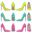 color illuminations of female classical shoes vector image vector image