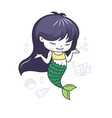 cute little mermaid with a fish and seashells vector image vector image