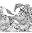 dolphin and narwhal and ocean waves coloring page vector image vector image