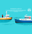 fishing boat sea transportation vessel with cargo vector image