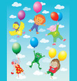 funny animals flying on balloons vector image