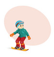 funny boy snowboarding downhill place for text vector image vector image