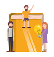 group people with book and light bulb vector image vector image