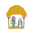 joseph and mary hut desert manger nativity merry vector image vector image