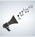 loudspeaker with melody notes icon stock flat vector image vector image