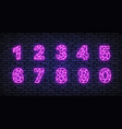 number neon in realistic style on isolated vector image